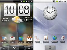 Diferença da tela principal do HTC Magic com e sem Sense. Quanta diferença, não?