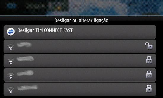 Conexões disponíveis 3G e Wi-Fi