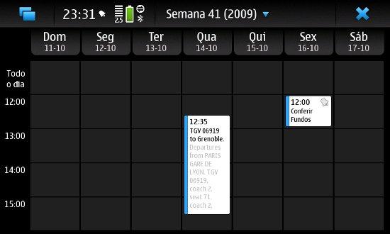 Agenda no Maemo 5 - Visualização Semanal