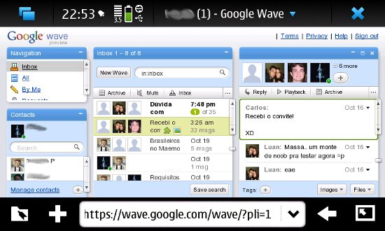 Google Wave aberto no browser do Maemo 5