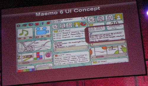 Sketch da Home screen infinita do Maemo 6. Parece interessante, não? (foto do gizmodo, compartilhada via Creative Commons)