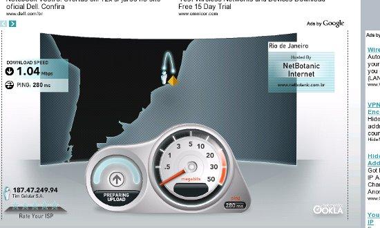 Teste de velocidade de conexão 3G