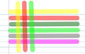 Marca texto com cores variadas e sobreposição