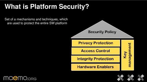 Slide da plataforma de segurança do Maemo 6 - proteção a privacidade, controle de acesso, proteção de integridade, hardware enablers (nenhuma tradução decente para isso) e gerenciamento de chaves (slides no Slide Share)